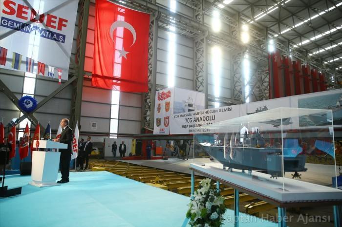 Çok Maksatlı Amfibi Hücum Gemisi ANADOLU'nun inşası başladı