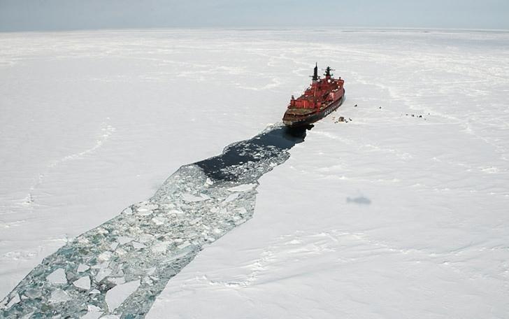 Rusya'nın nükleer buzkıran gemisi Yamal'dan görüntüler