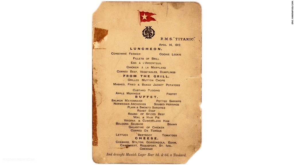 Titanik'teki son öğle yemeğinin menüsü 88 bin dolara satıldı