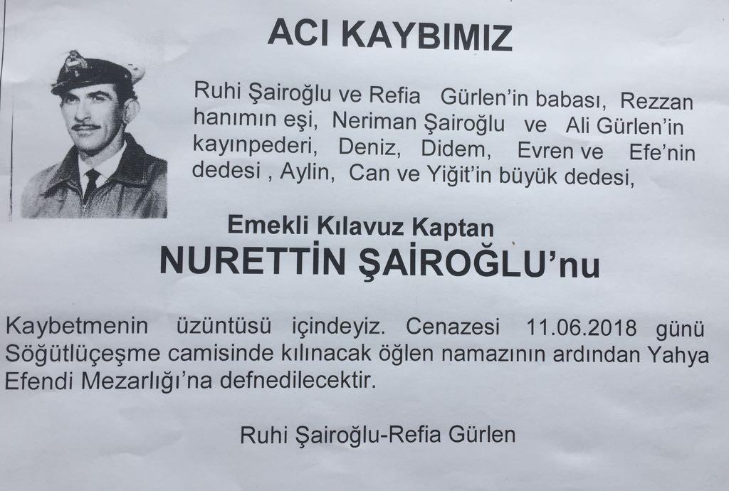 Emekli Kılavuz Kaptan Nurettin Şairoğlu vefat etti
