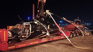 Bostancı'da denize çakılan helikopterin enkazı çıkarıldı