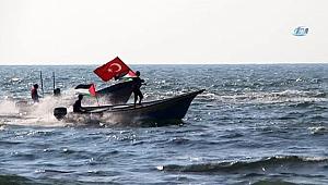 Filistinliler Akdeniz'de Türk bayrağını dalgalandırdı