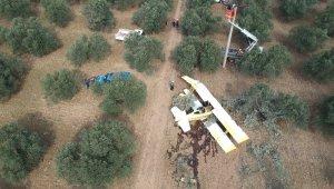 Düşen uçağın enkazı drone ile havadan görüntülendi