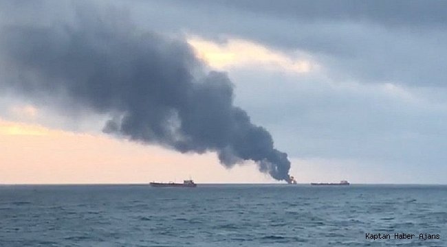 Kerç Boğazı'nda iki gemi alev aldı, mürettebat arasında Türkler de var