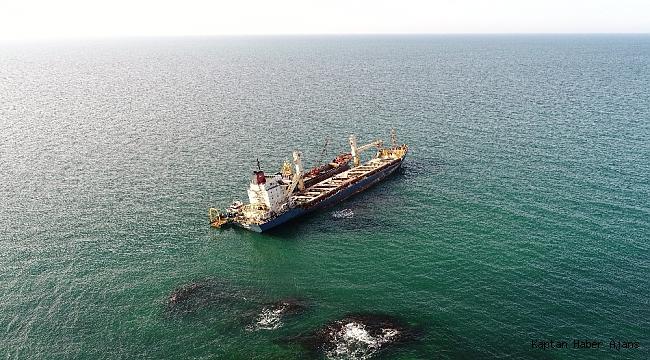 Şile'de karaya oturan gemiyi kurtarma çalışmalarında son durum havadan görüntülendi