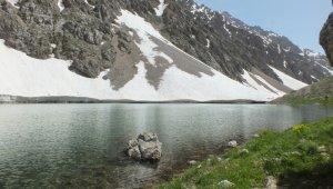 Yaz günü, buzul göllerinde yüzme keyfi