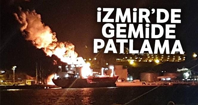 İzmir'de gemi yangını