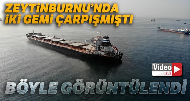 Zeytinburnu'nda kazaya karışan kuru yük gemisi havadan görüntülendi