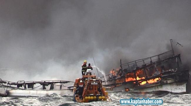 Balıkçı teknesi alevler içinde kaldı! 1 ölü, 11 kayıp...