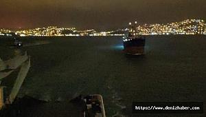 Şile açıklarında fırtına nedeniyle sürüklenen geminin kurtarılma anı kamerada