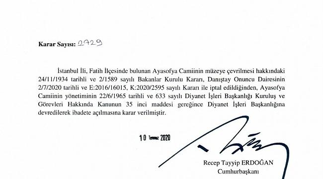 Ayasofya'nın ibadete açılmasına ilişkin Cumhurbaşkanı Kararı Resmi Gazete'de yayımlandı