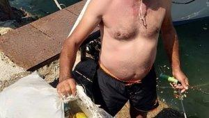 Burhaniyeli amatör balıkçıdan örnek davranış