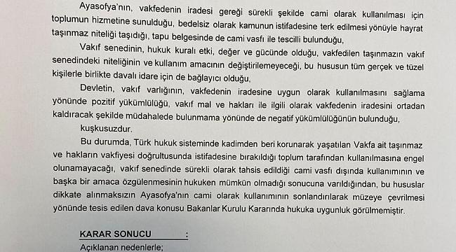 Danıştay Ayasofya'yı müze yapan Bakanlar Kurulu kararını iptal etti