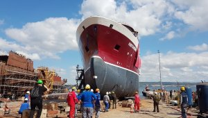 Norveç için inşa edilen gemi denize indirildi