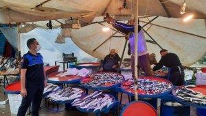 Osmangazi'de balıkçı tezgahlarına mavi ışık denetimi