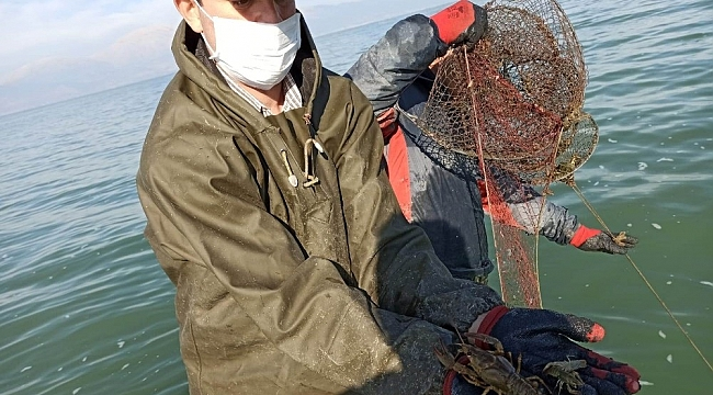 Eğirdir Gölü'nde 570 adet kaçak kerevit pinterine el konuldu