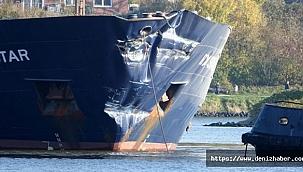 İki kargo gemisi Kiel Kanalı'nda kafa kafaya çarpıştı!