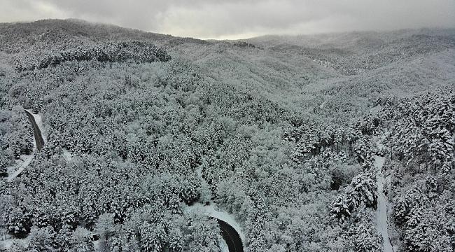 Kazdağları'nın beyaz örtüsü havadan böyle görüntülendi