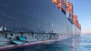 398 metrelik konteyner gemisi Ambarlı'da yanaşırken iskeleye çarptı!