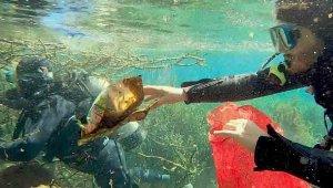 Antalya'nın tatlı su kaynağına giren dalgıçlar yine torba torba çöple çıktı!