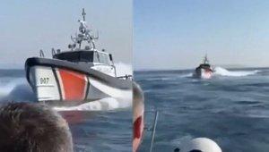 Türk Sahil Güvenlik botu Yunan botuna böyle müdahale etti! (Video)