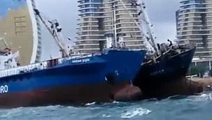 Kartal'da halatını koparan Ro-Ro gemisi panik yarattı! (Video)