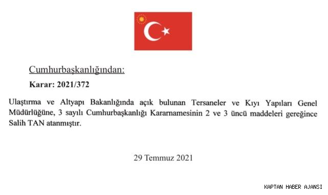 Tersaneler ve Kıyı Yapıları Genel Müdürlüğü'ne Salih Tan atandı!