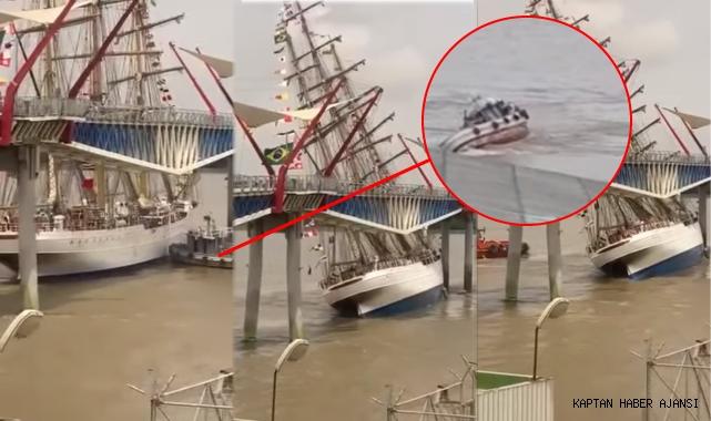 Brezilya'da askeri gemi köprüyle çarpıştı, römorkörü alabora oldu! (Video)