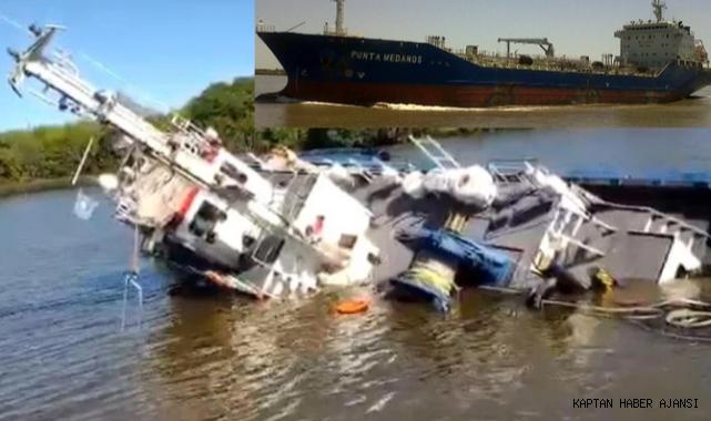 Manevra yapan tanker ile römorkör çarpıştı! (Video)