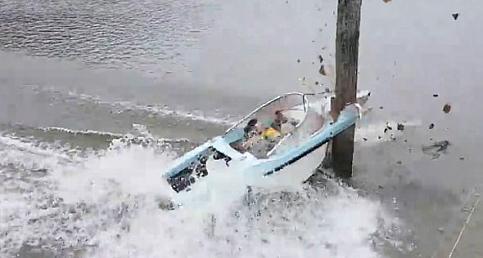 Sürat teknesi tahtaya böyle çarptı